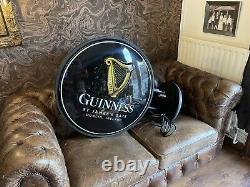 Énorme Mur Hung Double Face Allumez Le Signe Guinness. Signe De Pub. Mancave Home Bar