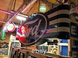 Énorme! Vintage Ford Double Sided Sign Car Truck Concessionnaire Concessionnaire Mancave Garage
