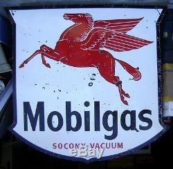 Enseigne De Station-service Mobilgas Pegasus De 1948 - Porcelaine Double Face De 6 '