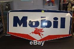 Enseigne De Station-service Pegasus En Porcelaine Recto-verso Original 1956 Mobil Oil