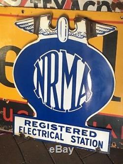 Enseigne Double Face Émaillée Nrma Electrical Station