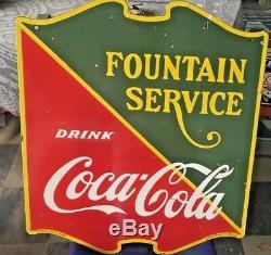 Enseigne En Porcelaine De Service Coca Cola Fountain 22,5 X 25 '' Double Face