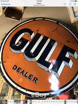 Enseigne En Porcelaine Double Face Gulf Dealer 66