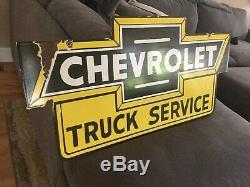 Enseigne En Porcelaine Double Face Vintage Chevrolet Truck
