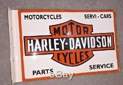 Enseigne Harley Davidson En Porcelaine Taille 19.5 X 13 Pouces Double Face Avec Bride