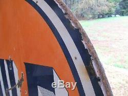 Enseigne Vintage 65 En Porcelaine Du Golfe Double Signe Avec Orig. Anneau De Montage