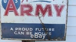 Epoque Vintage Vietnam Era Army, Recrutement Double Face, Signe Original, Daté