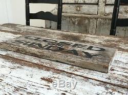 Fermé Le Dimanche Antique Aafa Bois Peint Publicité Commerce Signe Double Face