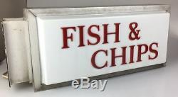 Fish & Chips Boutique De Signalisation Lumineuse Double Face Pour Magasin Takeaway