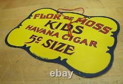 Flor De Moss Havana Cigar Antique Double Sided Tin Sign Mayer & Lavenson Co Ny
