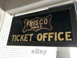 Frisco Railroad Frisco Lines Enseigne De Billetterie Double Face Des Années 1900 Rare