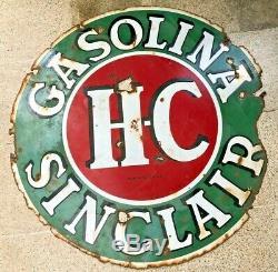 Gaz Station Sinclair Hc 48 Pouces Enseigne En Porcelaine Double Face Espagnol Rarest