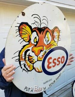 Géant 30 Double Face Esso Tiger Porcelain Signe Oil Gas