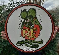 Grand 24 1961 Daté Rat Fink Porcelain Signe Double Face Rare