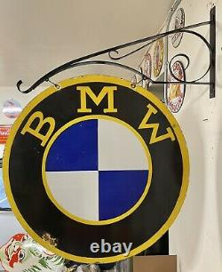 Grand Bmw 30 Porcelaine 2 Côté Double Panneau Latéral Avec Support Mural