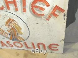 Grand Chef Essence Des Années 1920 Double Face Peint Signe Vintage 4ft X 3ft