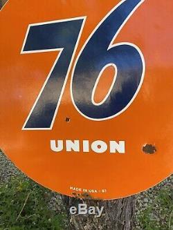 Grand Millésimés 1961''union 76 ' ' Double Face 30 Pouces Porcelain Connexion Etats-unis