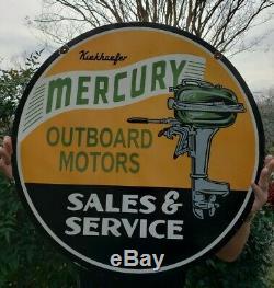 Grand Old Utilisé 1950 Mercury Outboard Motors Double Face En Porcelaine Pancarte De Métal