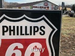 Grand Original Phillips 66 Signe Double Sided Dans Hanger Vintage Gas Oil Station