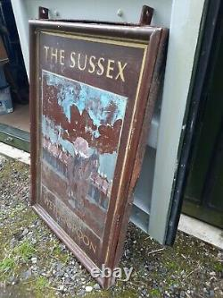 Grand Panneau De Pub Double Face Le Sussex Wetherspoon 120cm X 80cm