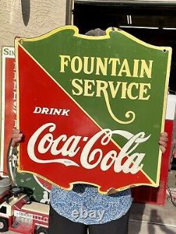 Grand Panneau De Service De Porcelaine Coca Cola 25x22.5 Double Face