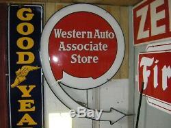Grand Panneau En Porcelaine Western Auto No. 9, En Excellent État