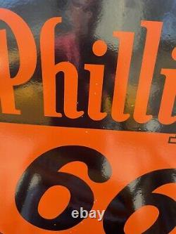 Grand Phillip 66 30 Porcelaine Double Face Vintage Enseigne Garage Bureau Boutique