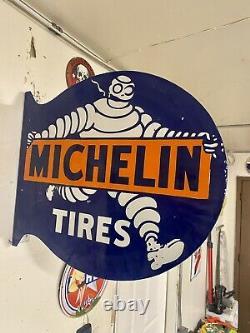 Grand Pneu Michelin Porcelaine Signe Émail 22x19 Double Face Flange Shop