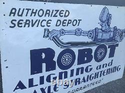 Grand Robot Des Années 50 Alignant Et Signe Double Face De Porcelaine D'essieu