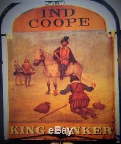 Grand Signe Antique Anglais À Double Face De Pub King Et Tinker Enfield, Middlesex