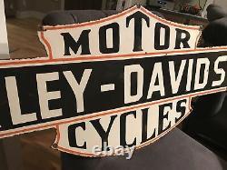 Grand Signe De Porcelaine À Double Face Harley Cycles À Double Face