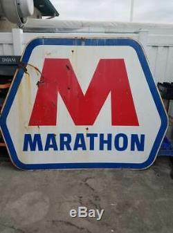 Grand Signe De Publicité De Station Service De Pétrole De Double Face Vintage De Porcelaine De Marathon