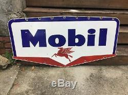 Grand Signe Vintage En Porcelaine Mobil Oil