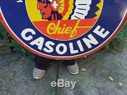 Grand Vintage Idaho Chef Essence Porcelaine 30 Signe Indien Double Face