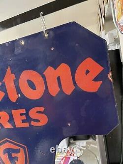 Grand Vintage Porcelaine À Double Face Firestone Pneus Panneau D'affichage Avec Bracket
