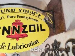 Grand Vintage''pennzoil ' ' Double Face 31x21 ' ' Porcelain Signe Avec Support
