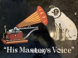 Grande Enseigne Hmv Enamel 1970s Ses Maîtres Voice Double Sided Shop Sign