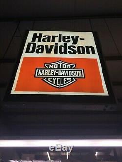 Grande Incroyable Énorme Vintage Harley Davidson Double Face Enseigne 6ft Grand