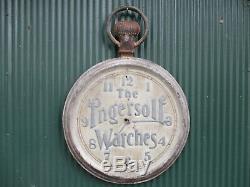 Grande Montres Ingersoll Antique Double Sided Trade Pancarte De Métal 24 Horloge Ronde