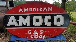 Grande Station Américaine Double Face En Porcelaine 8 × 4.5 'dsp Signée Par Amoco De Gaz Américain
