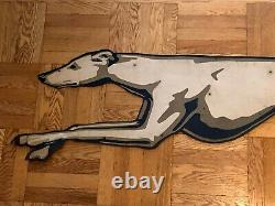 Greyhound Bus Lines Double Sided Sign Dog Die Cut Transportation Advertising