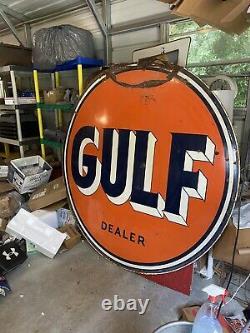Gulf Dealer Service Station 6 Pieds. Plaque De Porcelaine Métallique Double Côté Deux Côtés