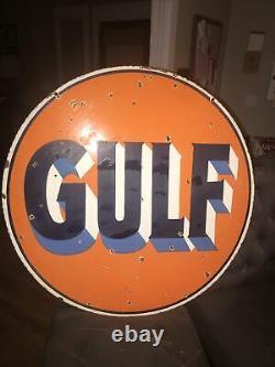 Gulf Oil 30 Signe Double Face De Porcelaine