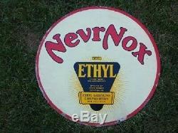 Haut Grade Rare 30 Nevrnox Double Face Porcelaine Signe Pétrole / Gaz Super Clean
