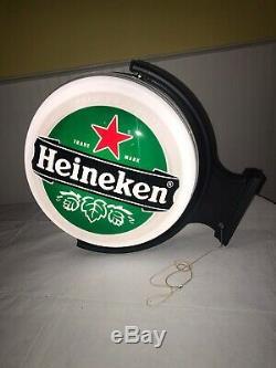Heineken Beer Double Face Gyrophare Mur Hanger Pub Sign Bar Publicité