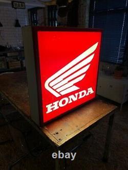 Honda Vintage Dealer Sign Illuminated Double Sided Lightbox, Garage / Mancave
