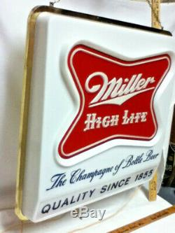 Horloge Miller Signe De La Bière 1957 High Life Double Face Pendaison Éclairé Barre Lumineuse Vieux