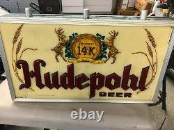Hudepohl Beer Premier Double Sided Light Up Sign 50's Burgandy And Gold