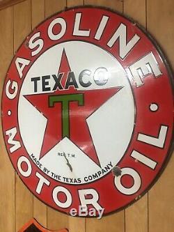 Huile De Moteur À Essence Vtg Texaco Porcelaine Original Double Sided Station Sign 42