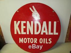 Huile De Moteur Kendall Vintage Des Années 50-60 À Double Face En Porcelaine Près De Métal